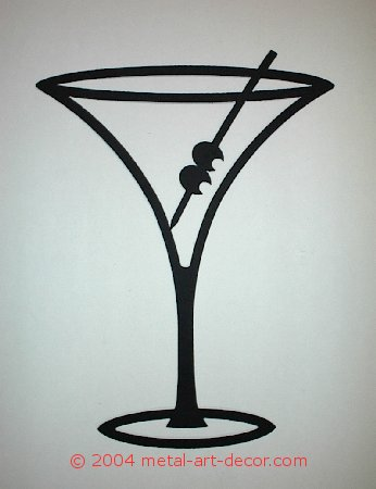 Martini Glass Restaurant Bar Modern Wall Art Decor