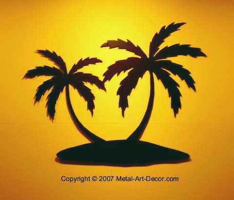 Palm Tree Island tropical beach condo Wall Art Decor